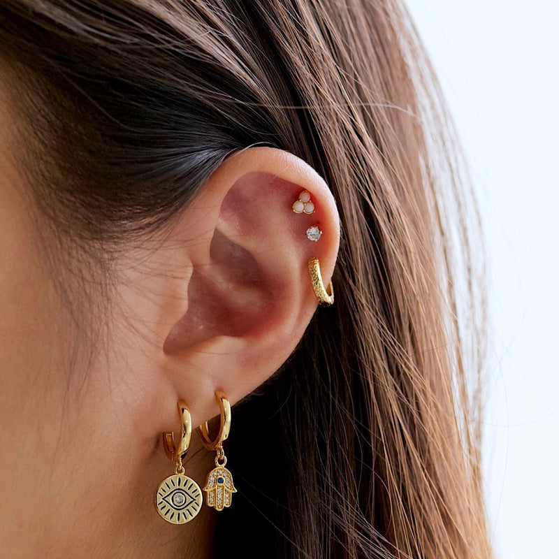 Sparkle Hamsa Hoop Earrings