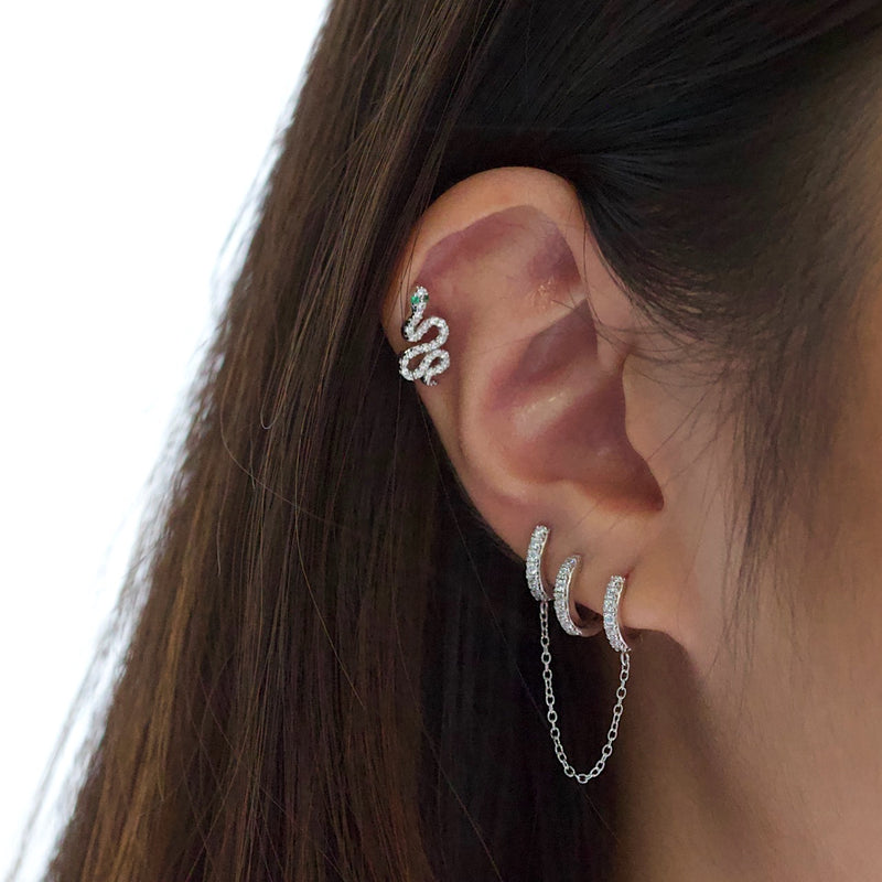 Double Pave Chain Huggie Earrings