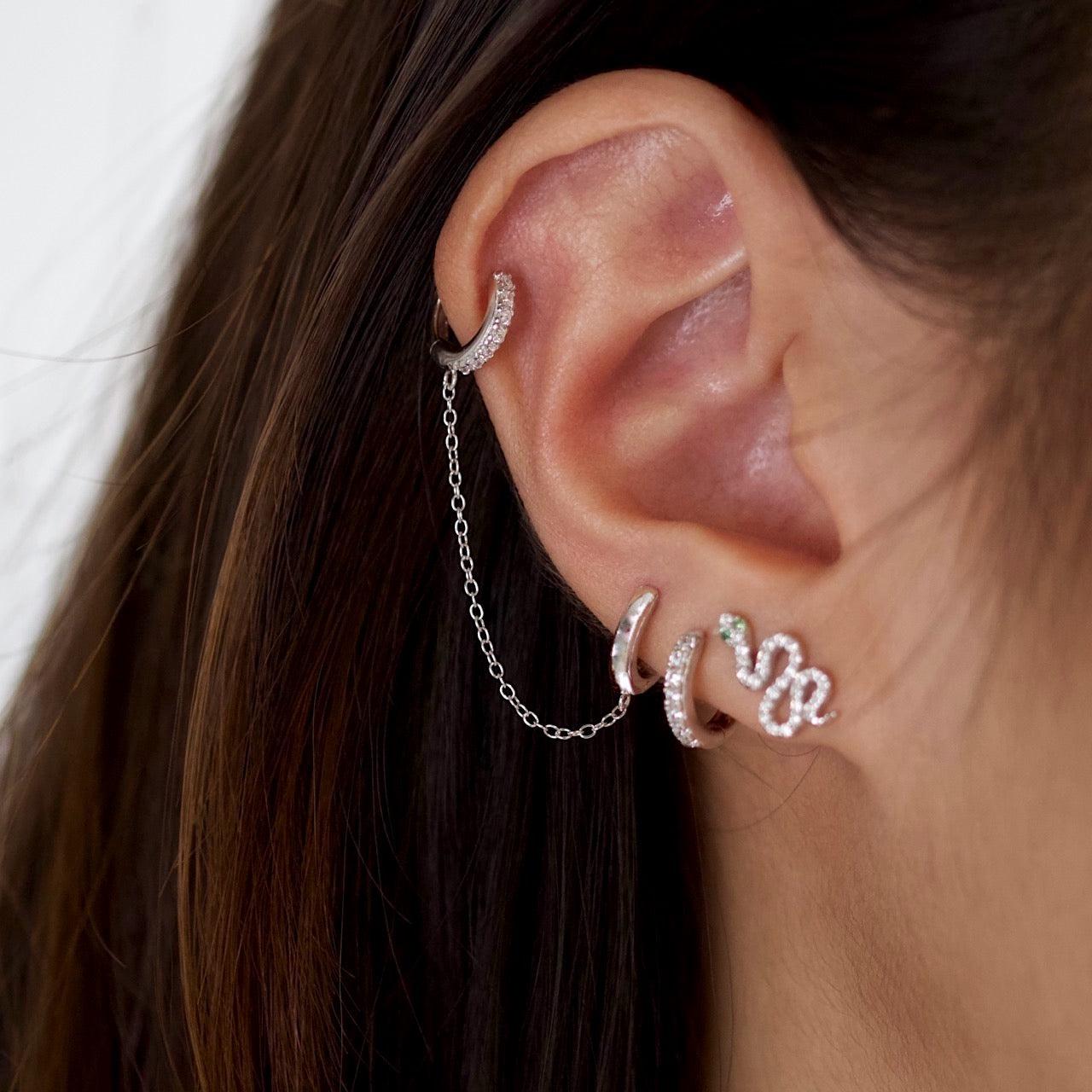 Double Chain Huggie Earrings