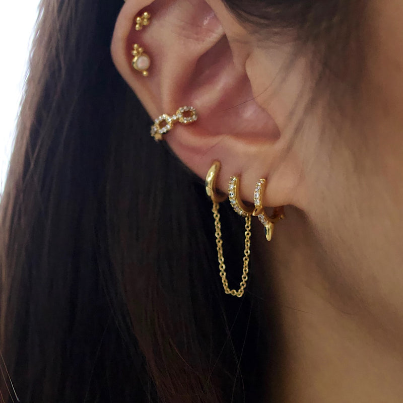 Spike Pave Huggie Earrings