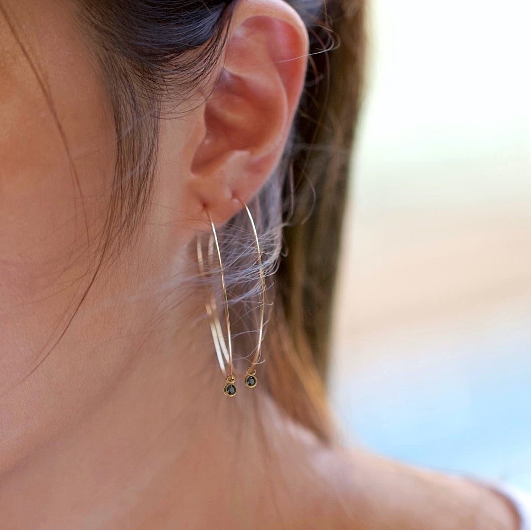Black Bezel Big Hoop Earrings