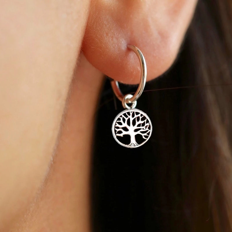 Nature Tree of Life Hoop Earrings