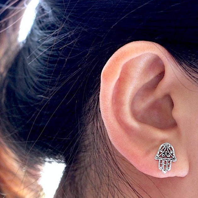 Hamsa Filigree Stud Earrings