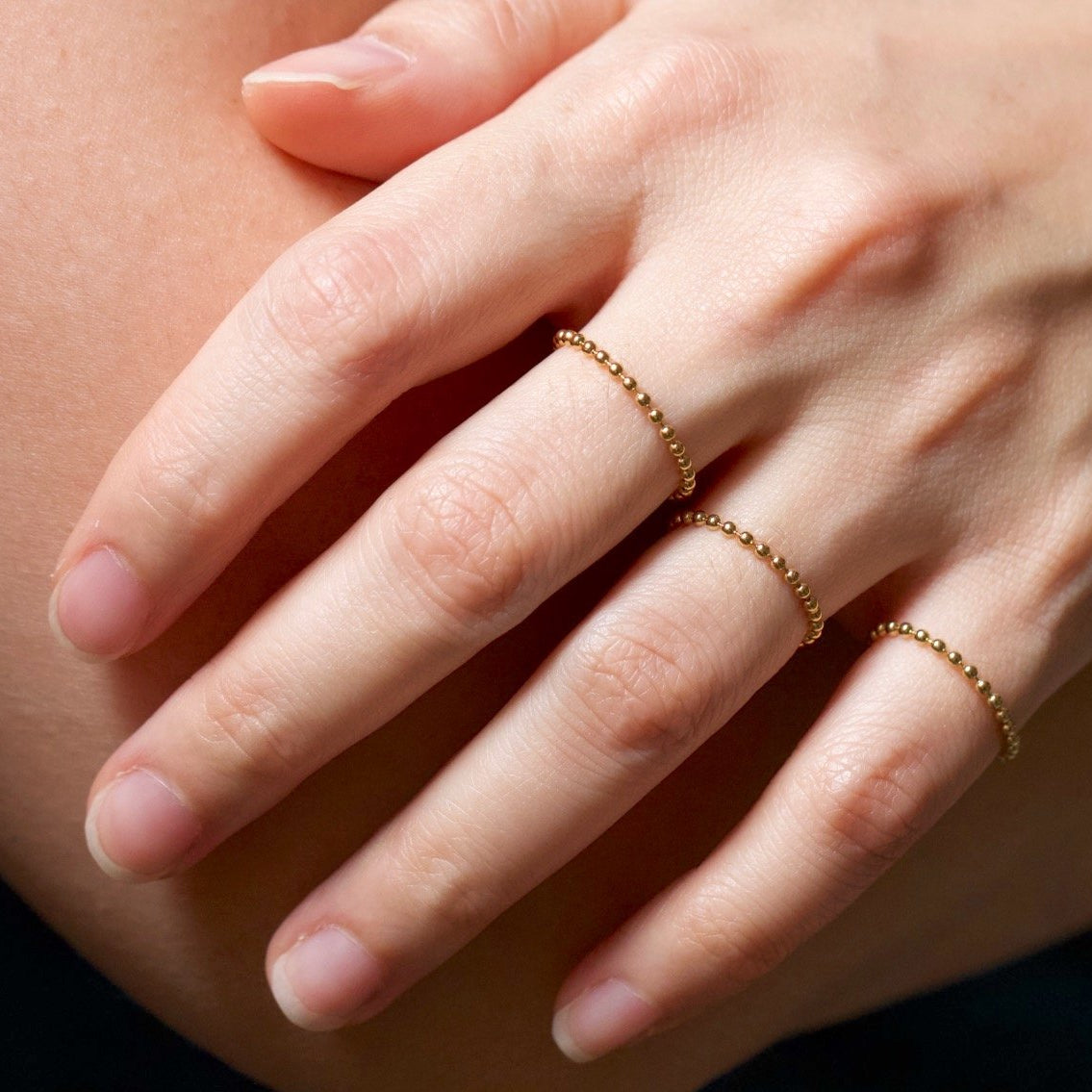 Diamond Cut Ball Chain Ring Gold