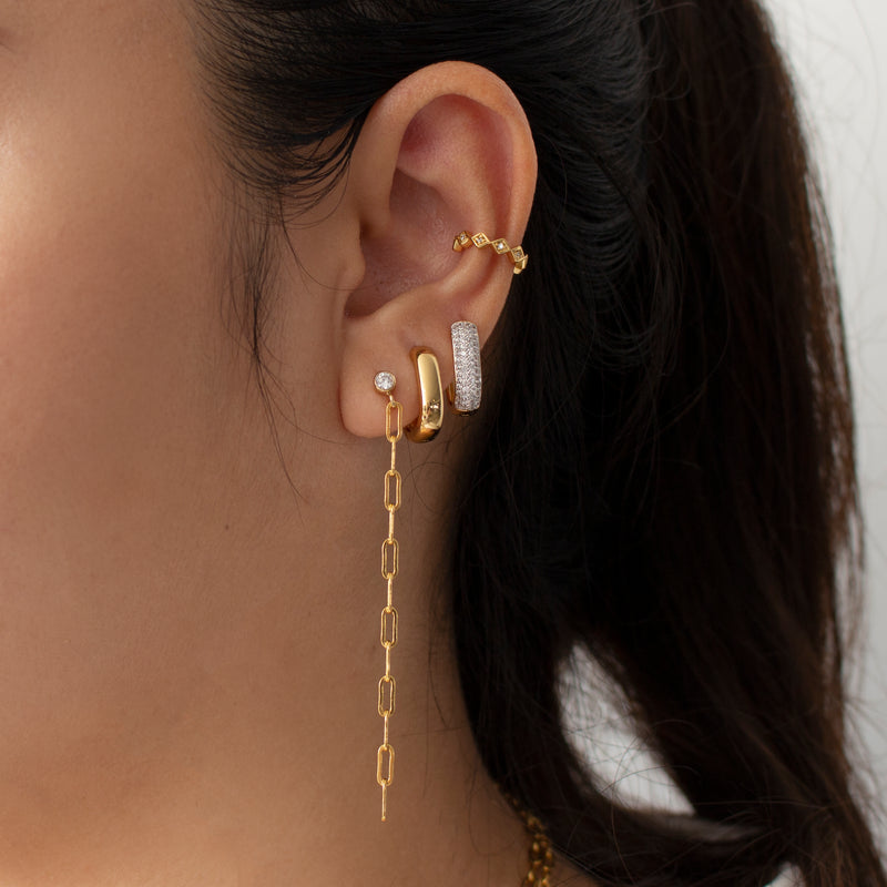 Bezel Chain Drop Earrings