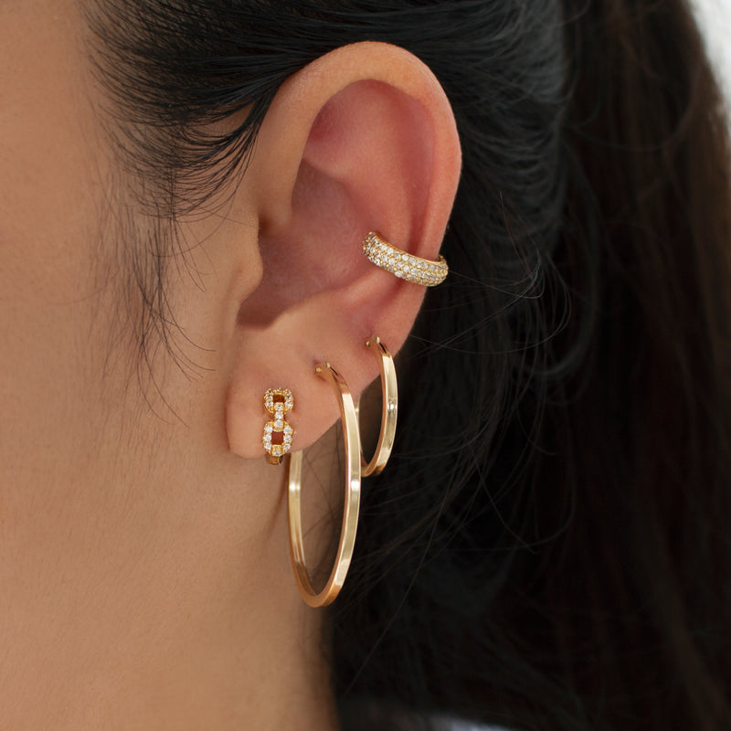 Small Square Edged Hoop Earrings
