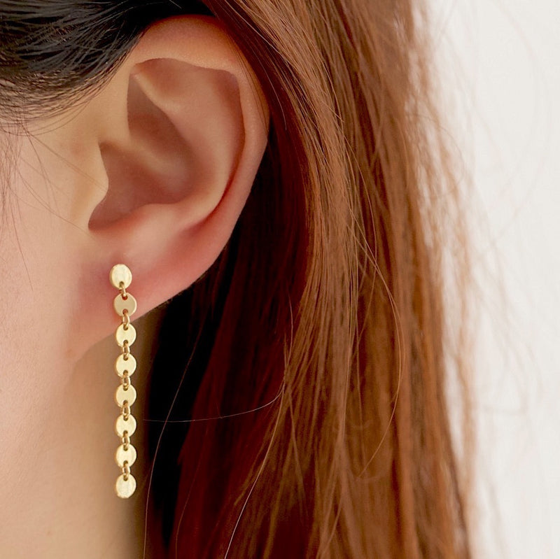 Coin Disc Long Earrings