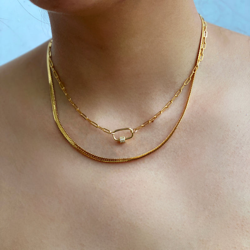 Pavé Carabiner Chain Necklace