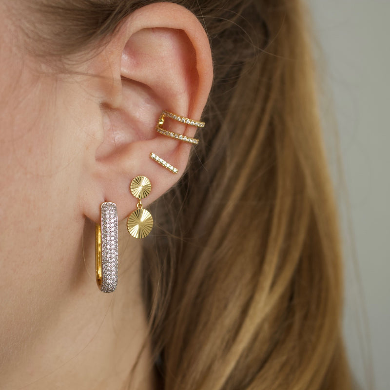 Pavé Bold Link Hoop Earrings