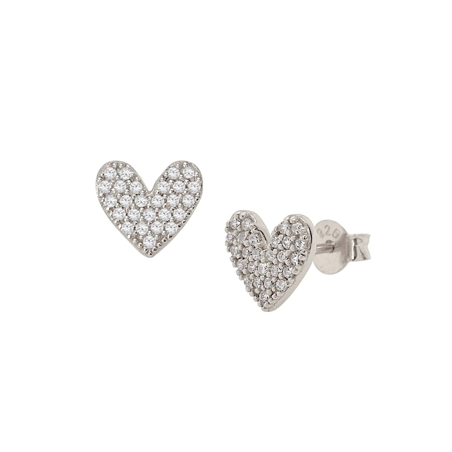Luxe Pave Heart Stud Earrings