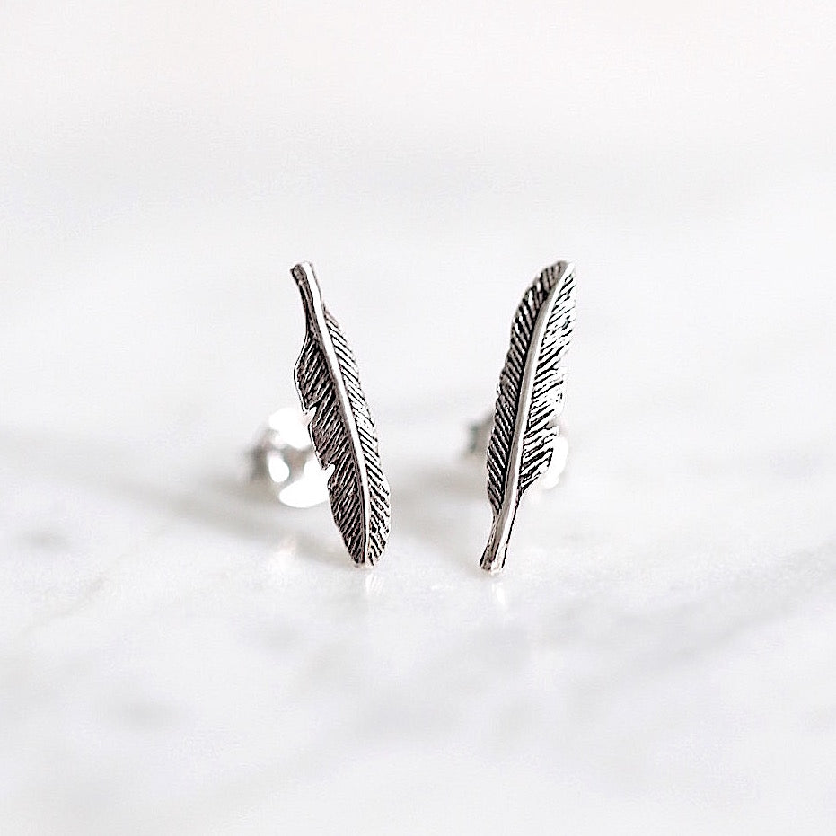 Leviosa Feather Stud Earrings