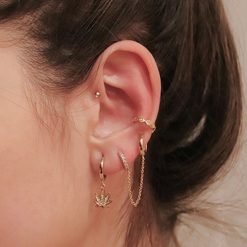 Sparkly Weed Hoop Earrings