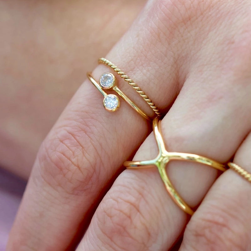 Golden Bezel Double Ring