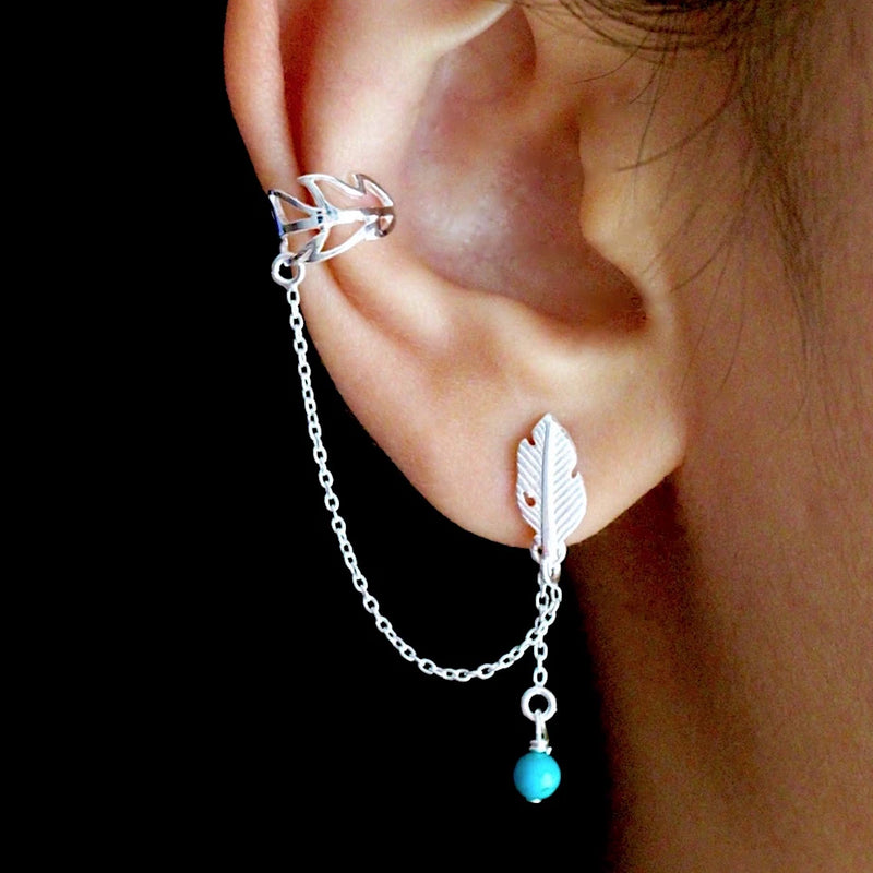 Leaf Boho Ear Cuff Chain Earrings
