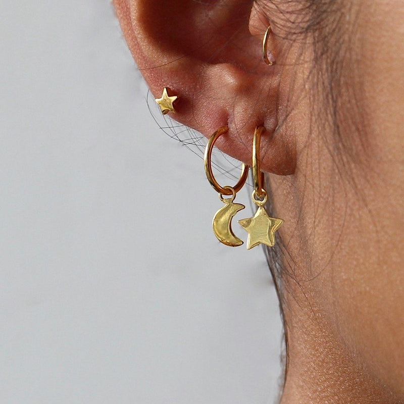 Star Moon Hoop Earrings