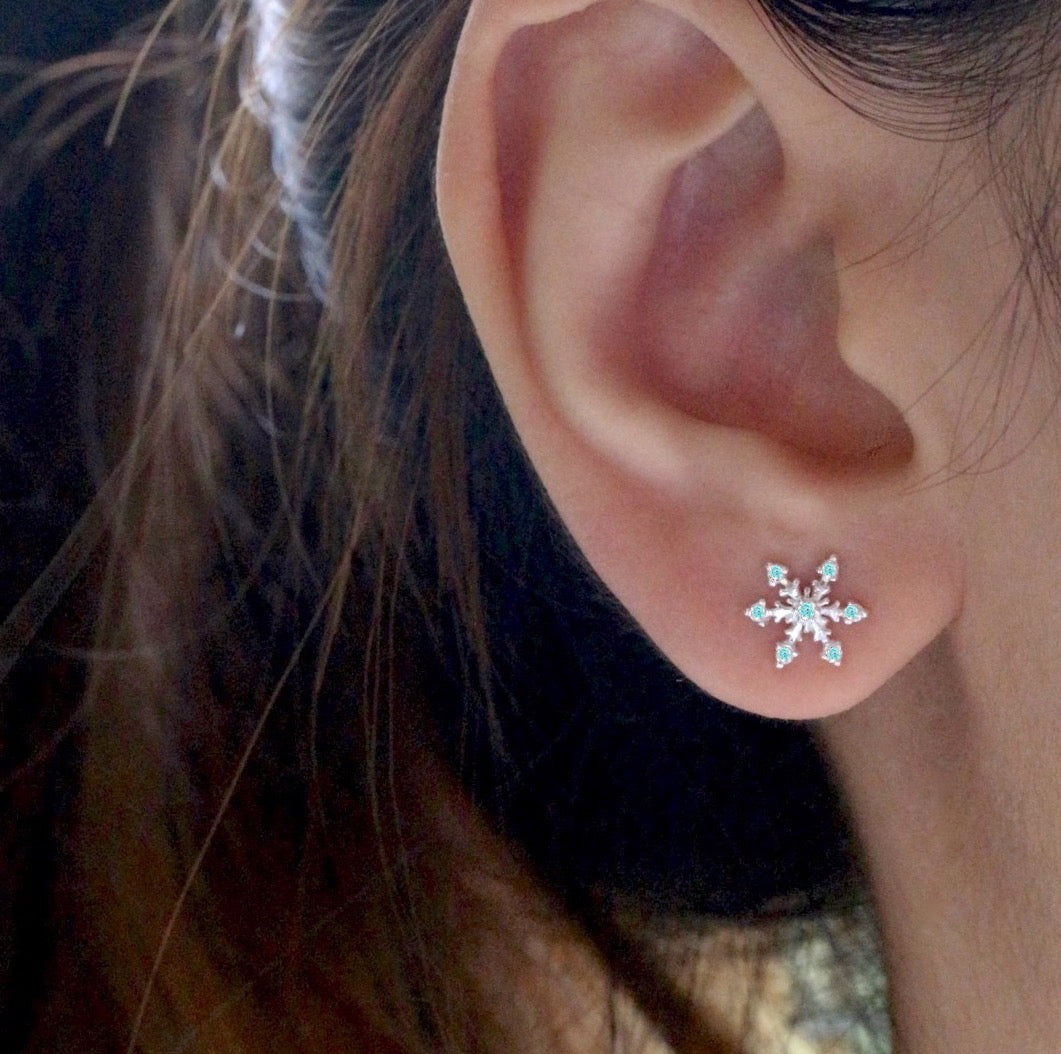 Aqua Snowflake Stud Earrings