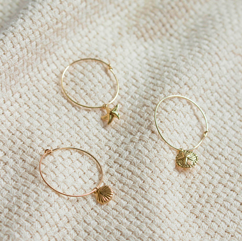 Golden Sand Dollar Hoop Earrings