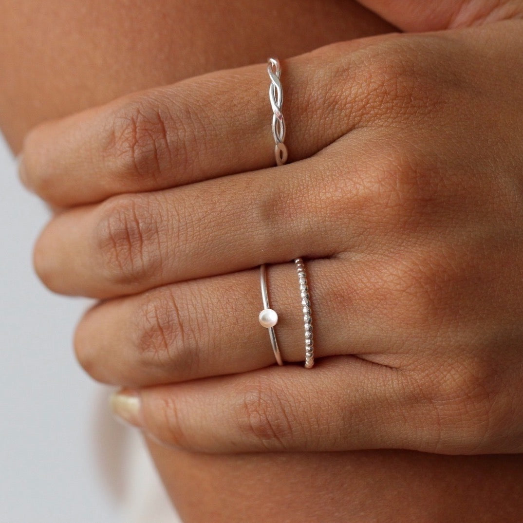 Mini Pearl Ring Silver