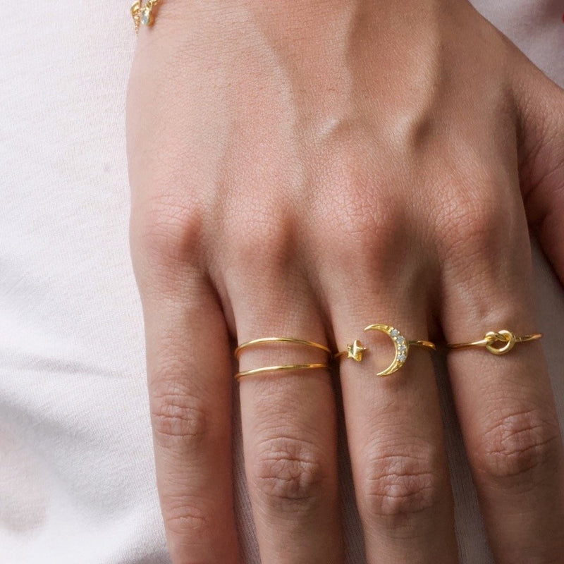 Moon Star Ring Gold