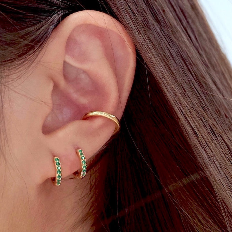 Emerald Pave Huggie Hoop Earrings