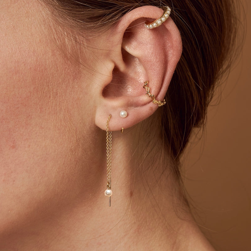 Minimal Swarovski Pearl Threader Earrings