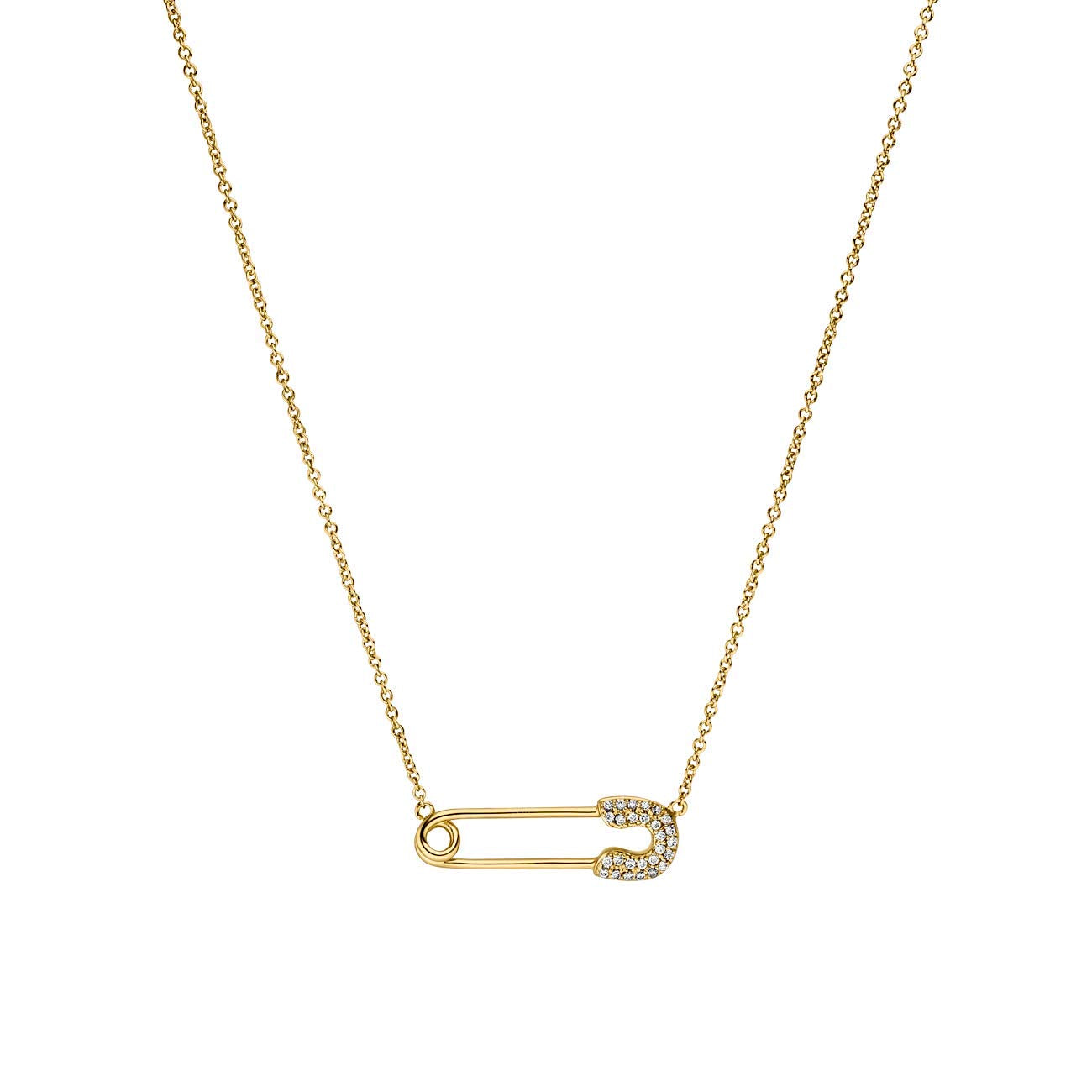 Luxe Pave Safety Pin Necklace