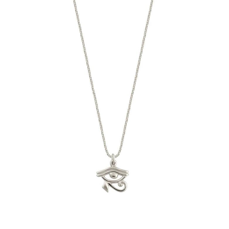 Silver Eye of Horus Charm| Silver Snake Ropeor Figaro Chain Egyptian Necklace  For Her Eye of Horus African Horus Protection Amulet