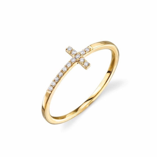 Sideway Pave Cross Ring