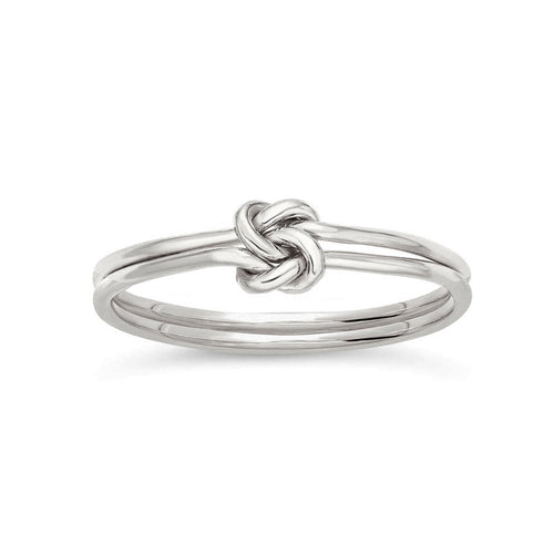 Infinity Double Love Knot Ring Silver