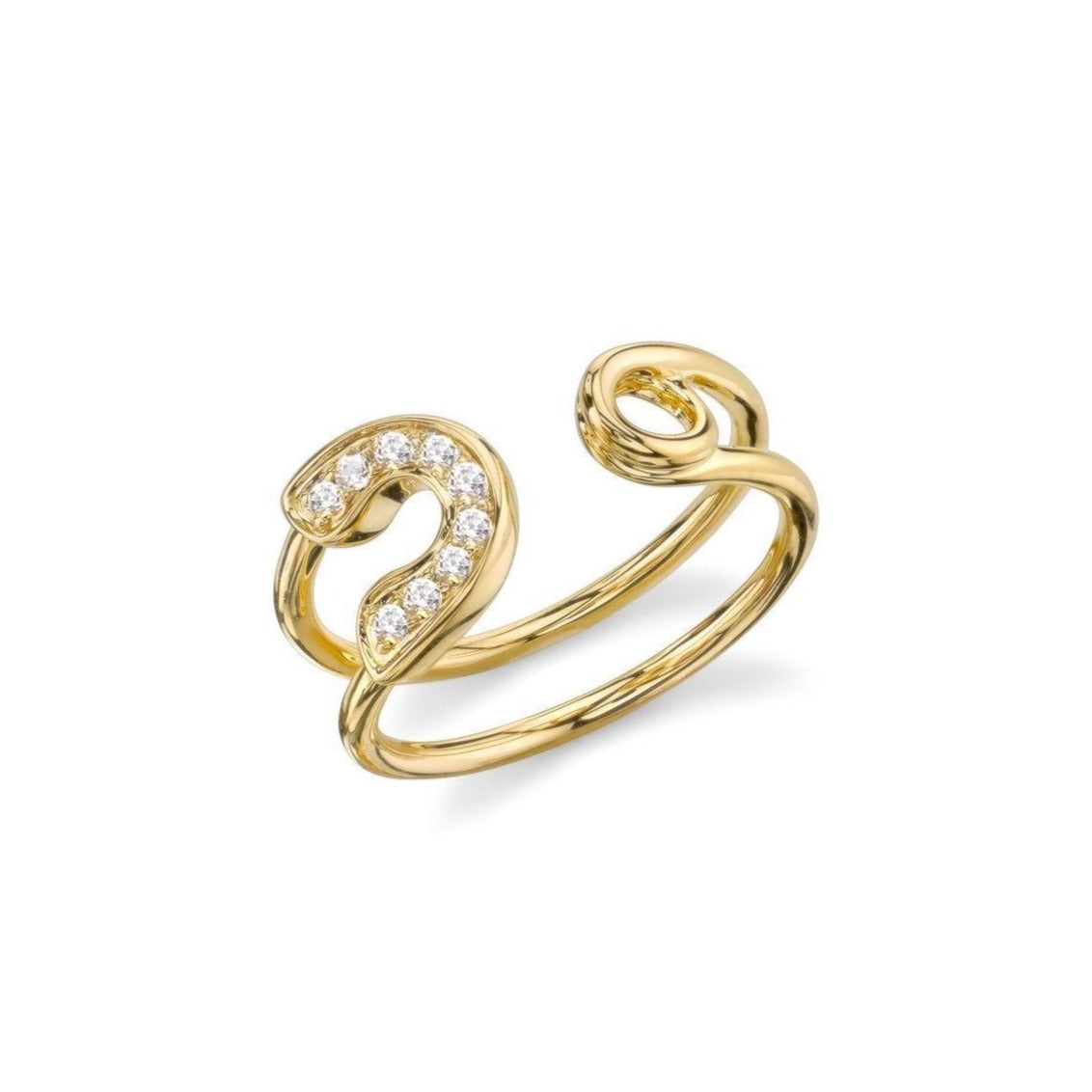 Luxe Pave Safety Pin Ring Gold