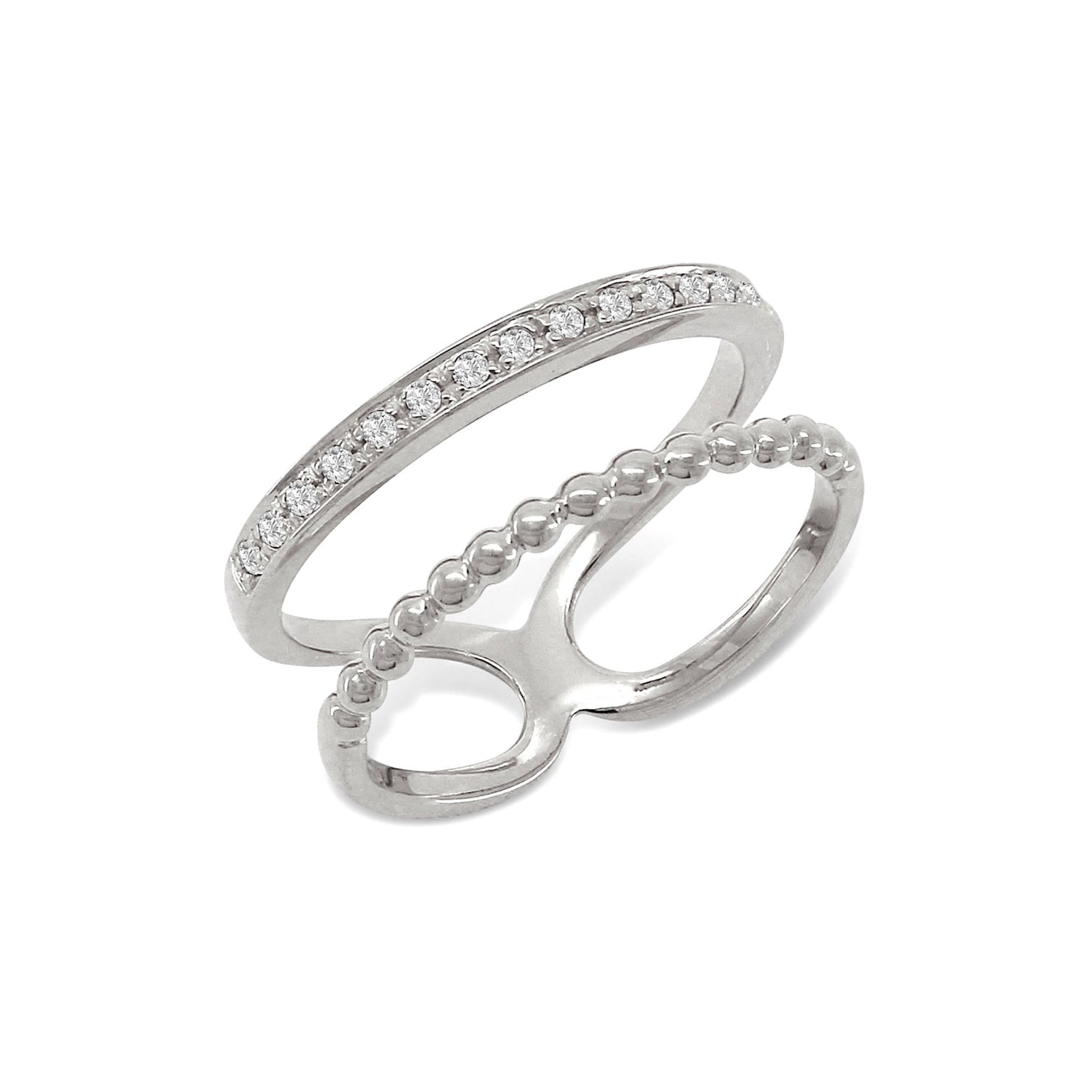 Statement Double Ring Silver