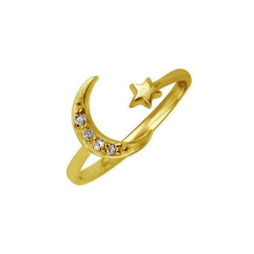 Open Moon Star Ring Gold