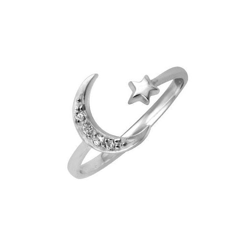 Open Moon Star Ring Silver
