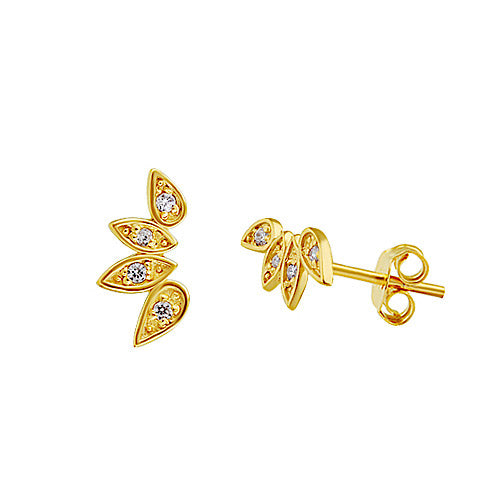 Sparkle Leaf Stud Earrings