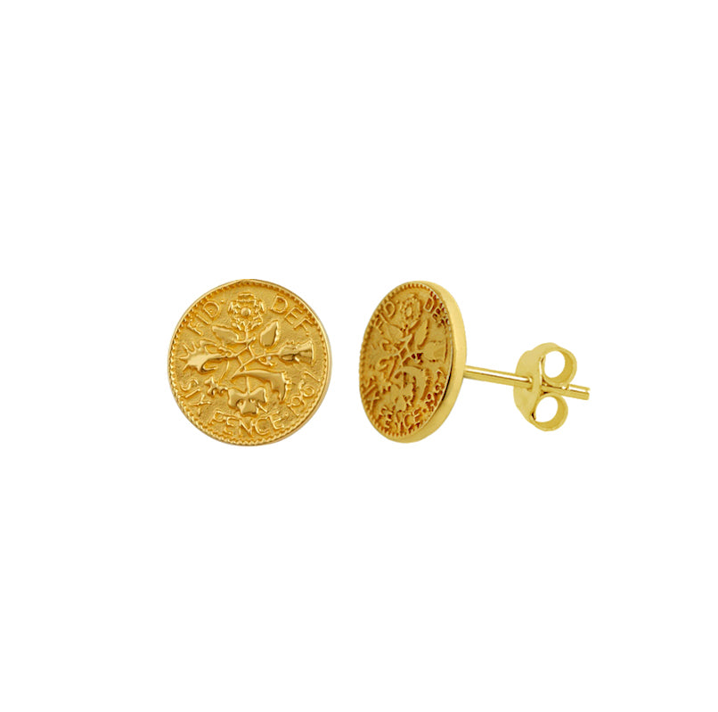 Medallion Coin Stud Earrings