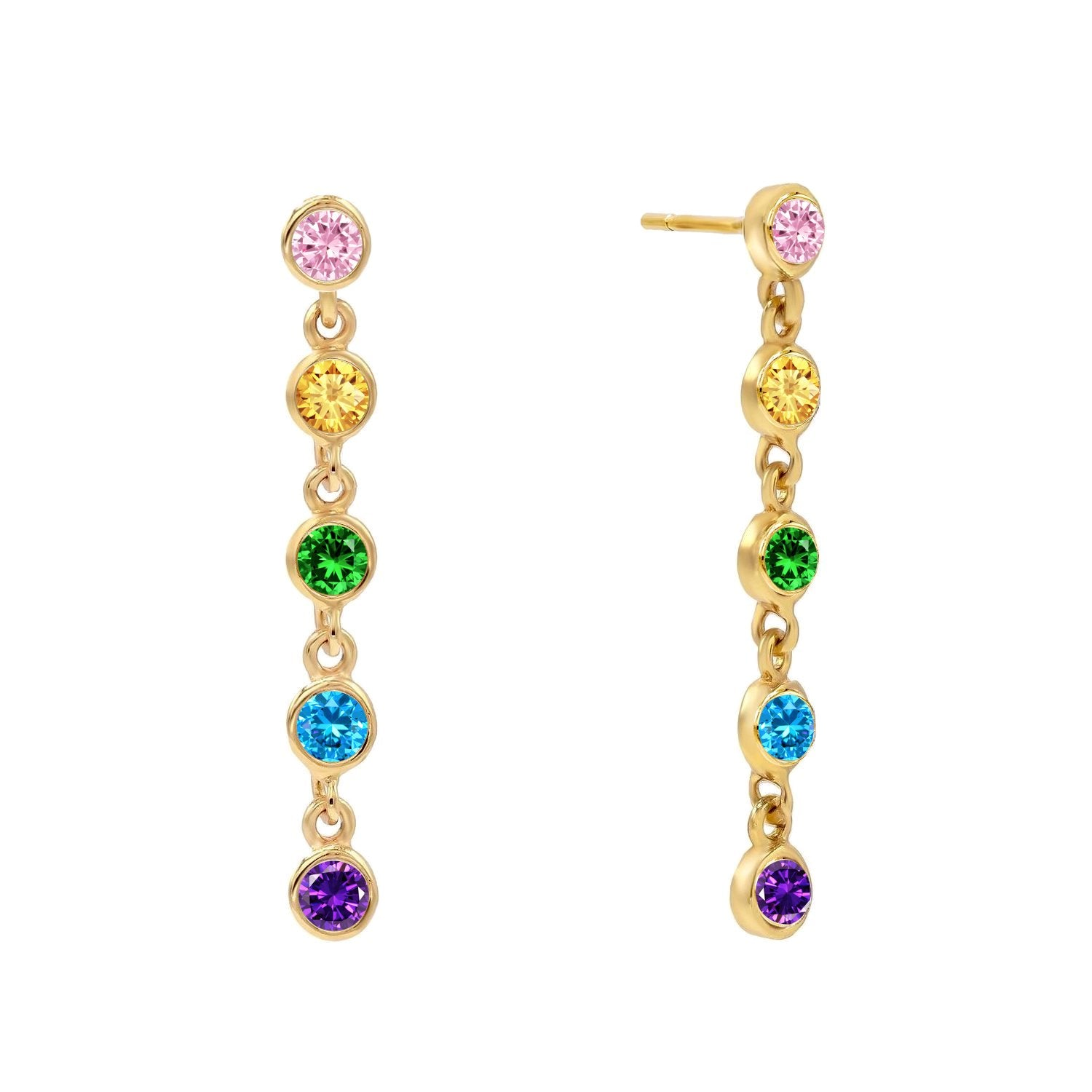 Rainbow Bezel Stud Earrings
