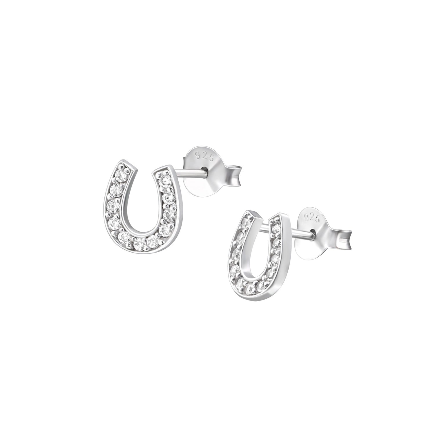 Sparkle Horseshoe Stud Earrings
