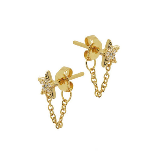 Pave Star Chain Stud Earrings