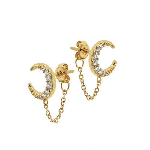 Pave Moon Chain Stud Earrings