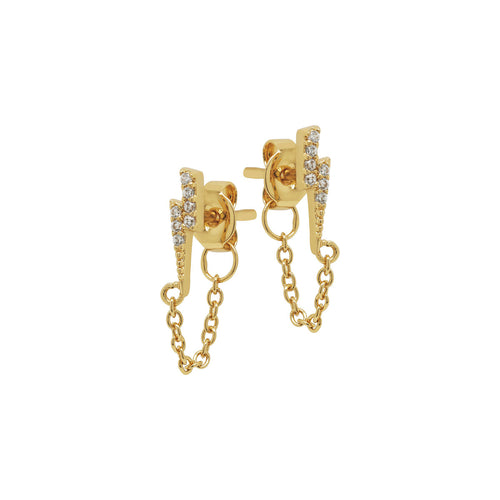 Pave Lightning Chain Stud Earrings
