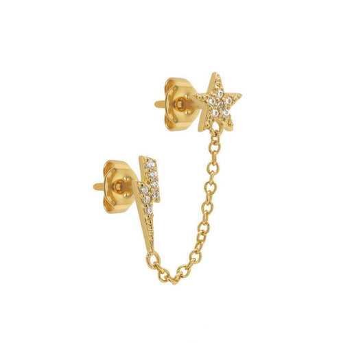 Pave Star Lightning Chain Stud Earring