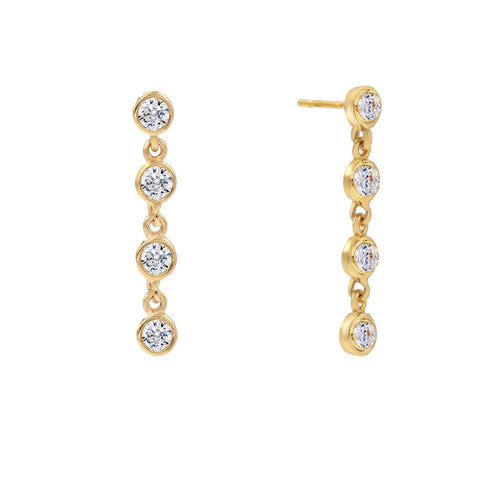 Quattro Bezel Stud Earrings