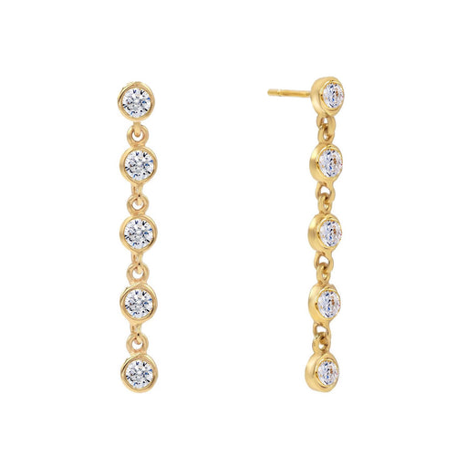 Cinq Bezel Stud Earrings