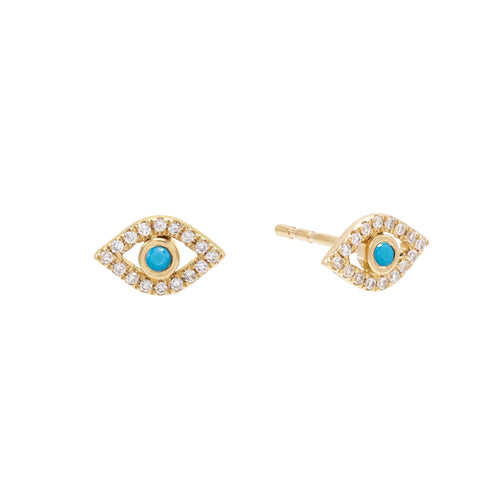 Evil Eye Turquoise Stud Earrings