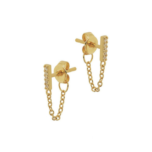 Pave Bar Chain Stud Earrings