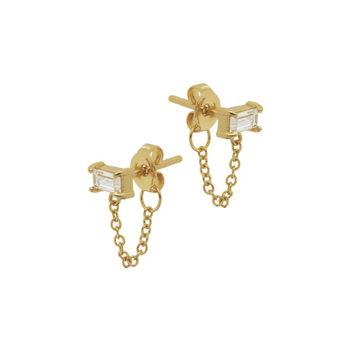 Minimal Baguette Chain Stud Earrings