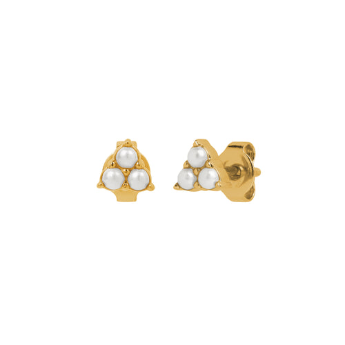 Trinity Pearl Stud Earrings