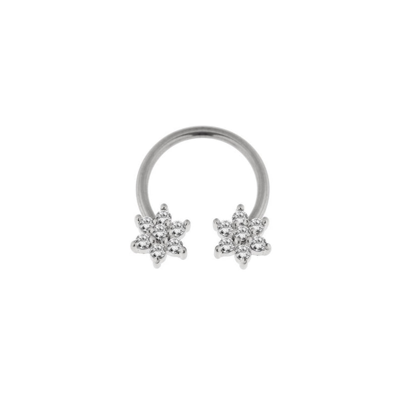 Flower Jewel Steel Circular Barbell