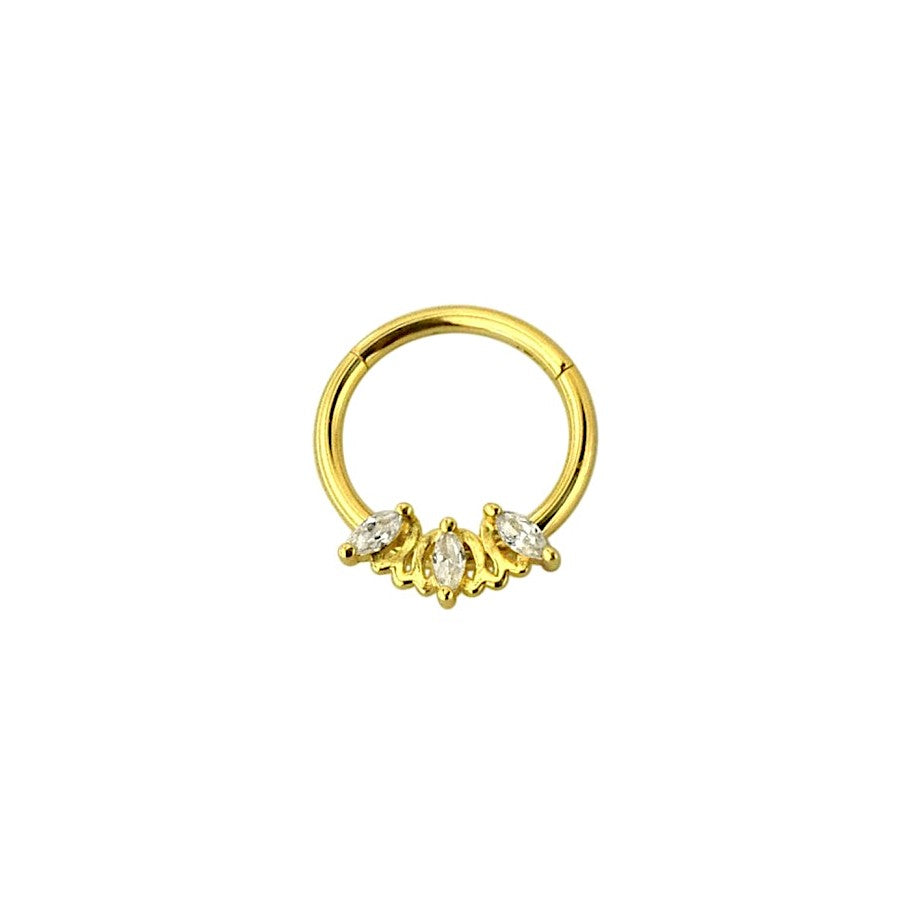 Marquise Triple CZ Clicker Ring