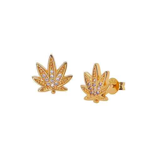 Sparkly Weed Stud Earrings